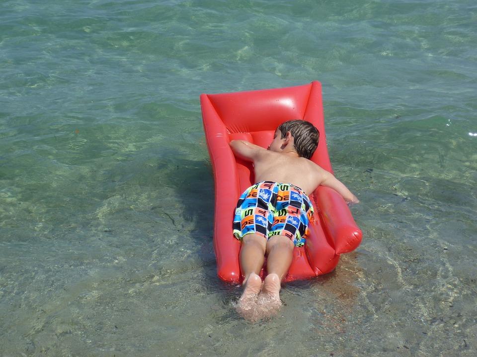 Air Mattress, Children, Water, Floating Body, Sea