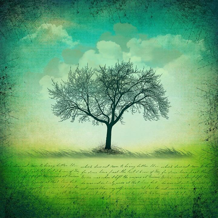 Background, Tree, Nature, Air, Vintage, Blue, Landscape