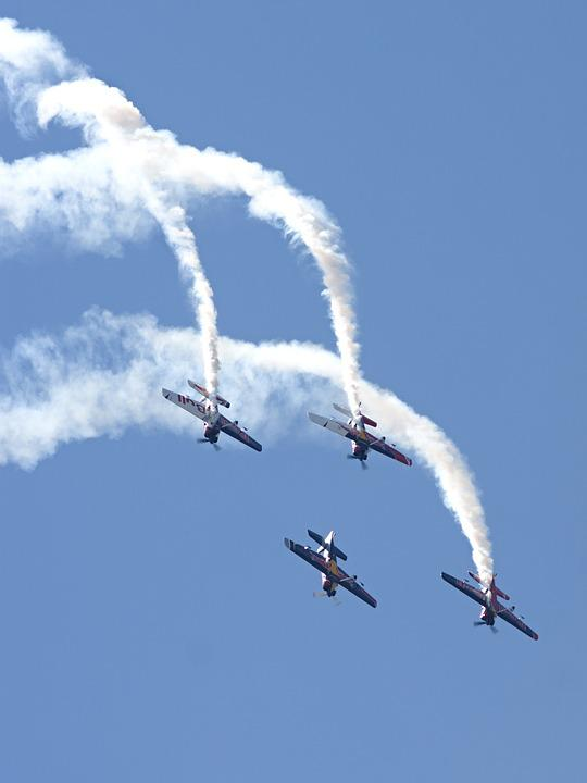 Airshow, Acrobatics, Flight, Aircraft, Sky, Heaven