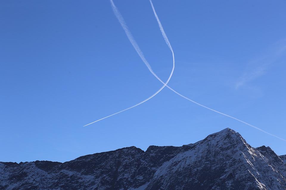 Aircraft, Contrail, Sky, Blue, Aviation, Jet, Flight