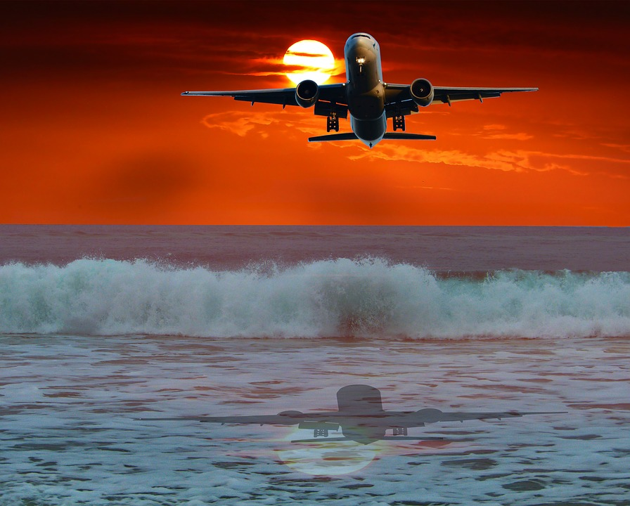 Sunset, Aircraft, Transport, Ocean, Reflection, Travel