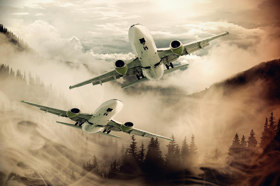 Aircraft, Flight, Mountains, Forest, Fog, Sky, Flyer