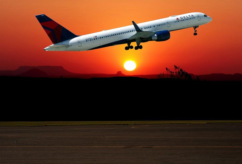 Sunset, Aircraft, Take Off, Sky, Travel, Transport, Sun