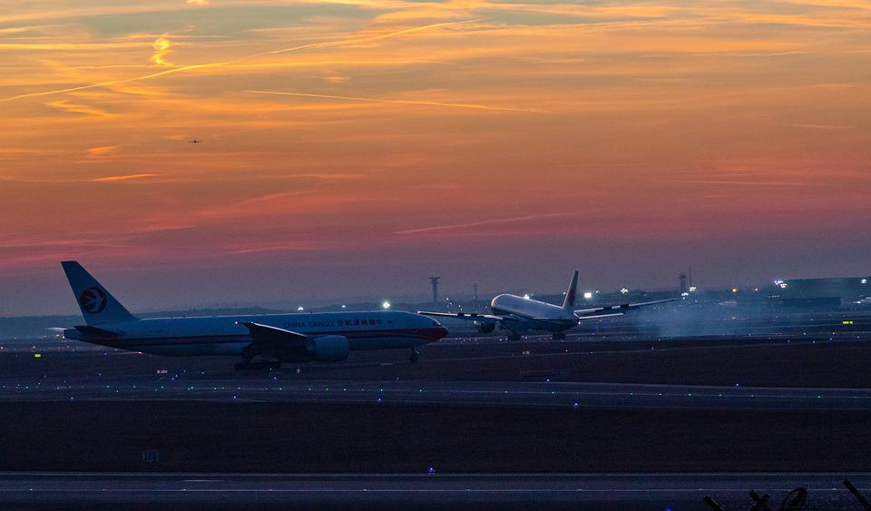 Airplane, Airport, Sunset, Aircraft, Jet, Airliner