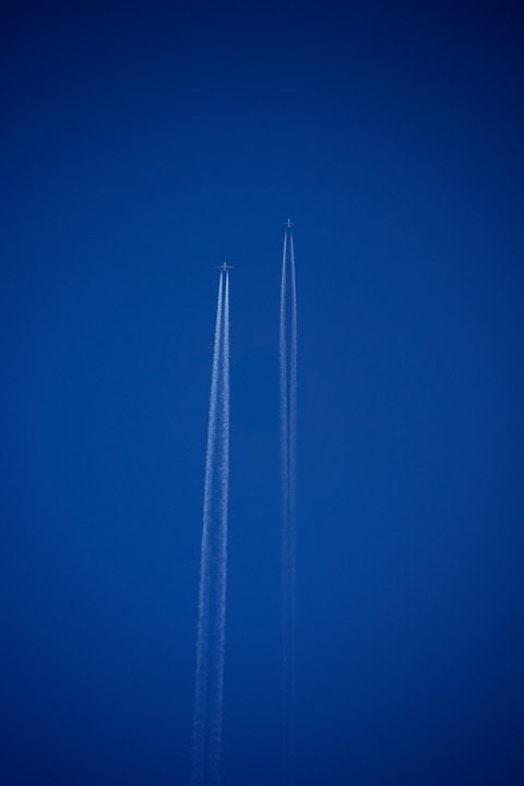 Aircraft, Contrail, Fly, Sky, Airliner, Partly Cloudy