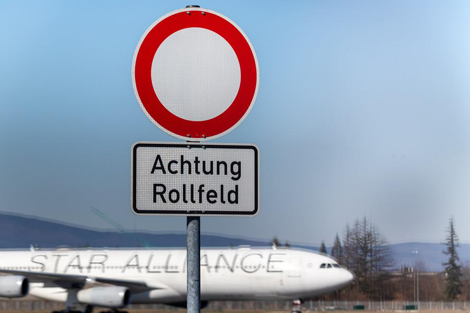 Airplane, Aircraft, Sign, Vehicle, Road, Sky, Airport