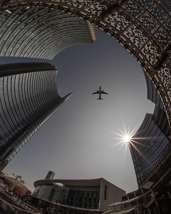 Plane, City, Architecture, Airplane, Travel, Sky, Urban