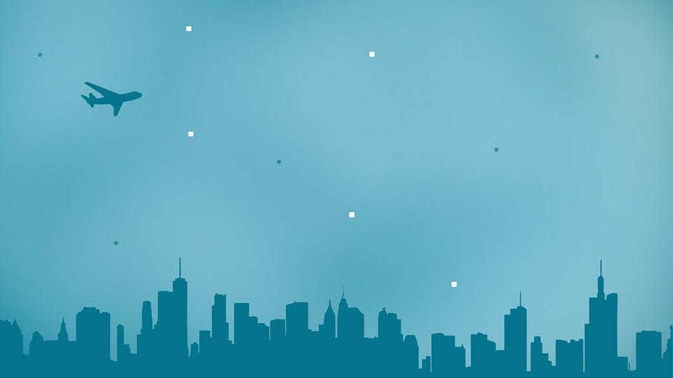 Airplane, Night, Plane, Sky, Travel, City, Blue, Tones