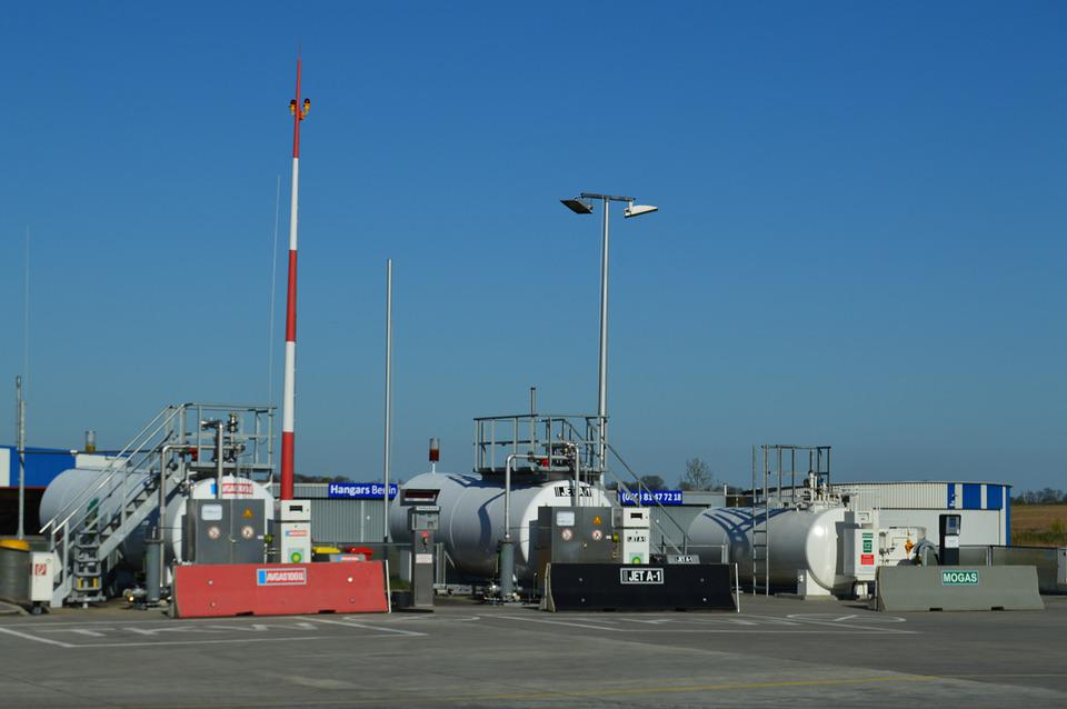Airport, Tank Farm, Hangars, Kerosene, Radio Mast