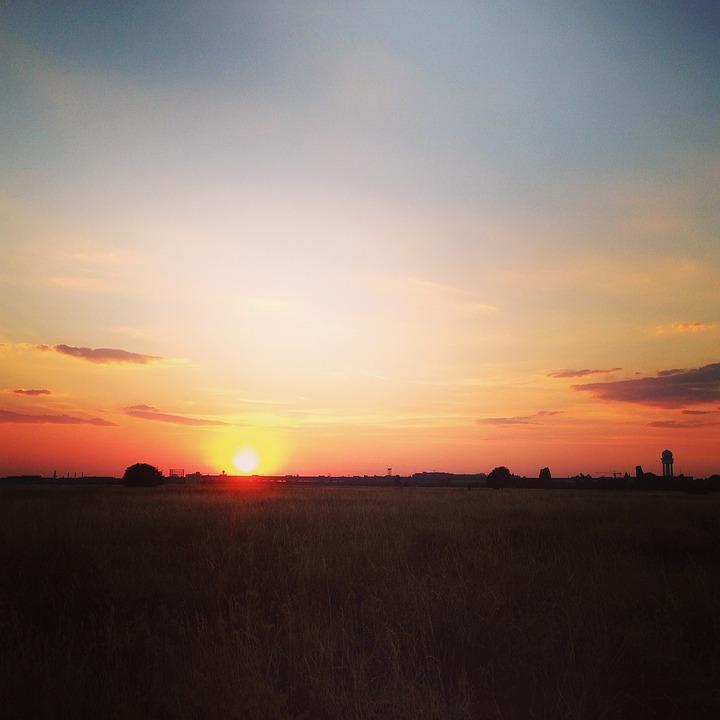 Sunset, Berlin, Tempelhofer Field, Tempelhof, Airport