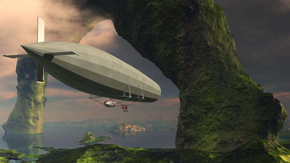 Fantasy, Airship, Flying, Dirigible Balloon