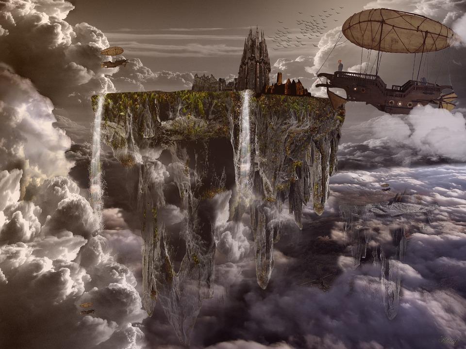 City, Float, Floating City, Airship, Fantasy, Dream
