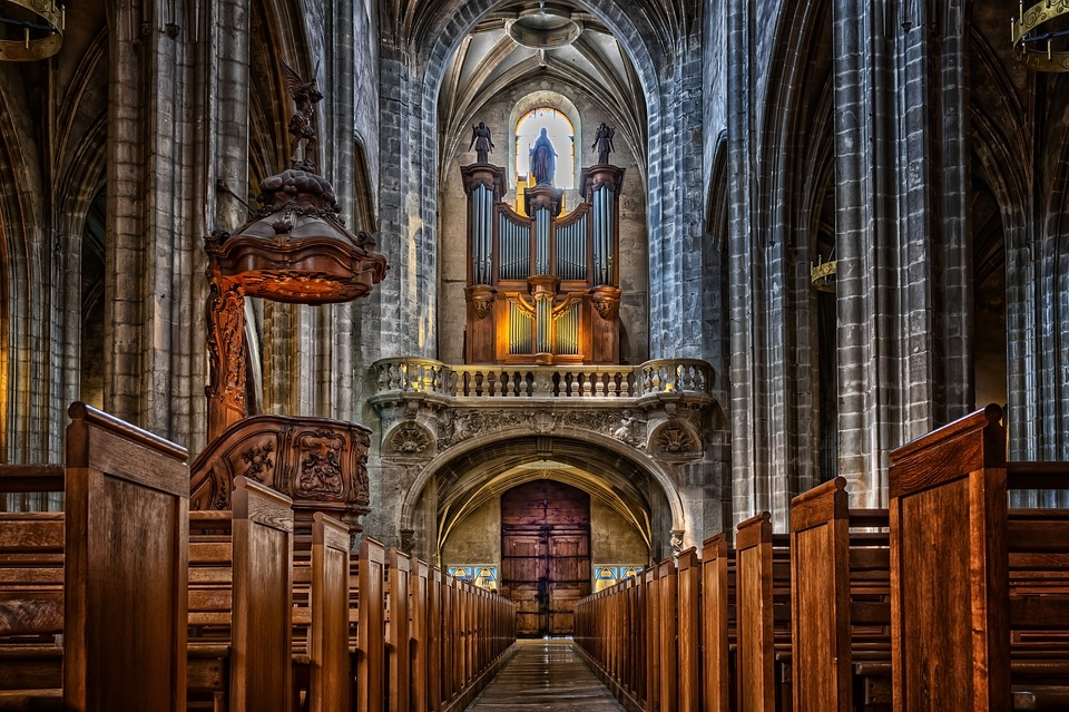 Bourg En Bresse, Church, Aisle, Cathedral, Interior