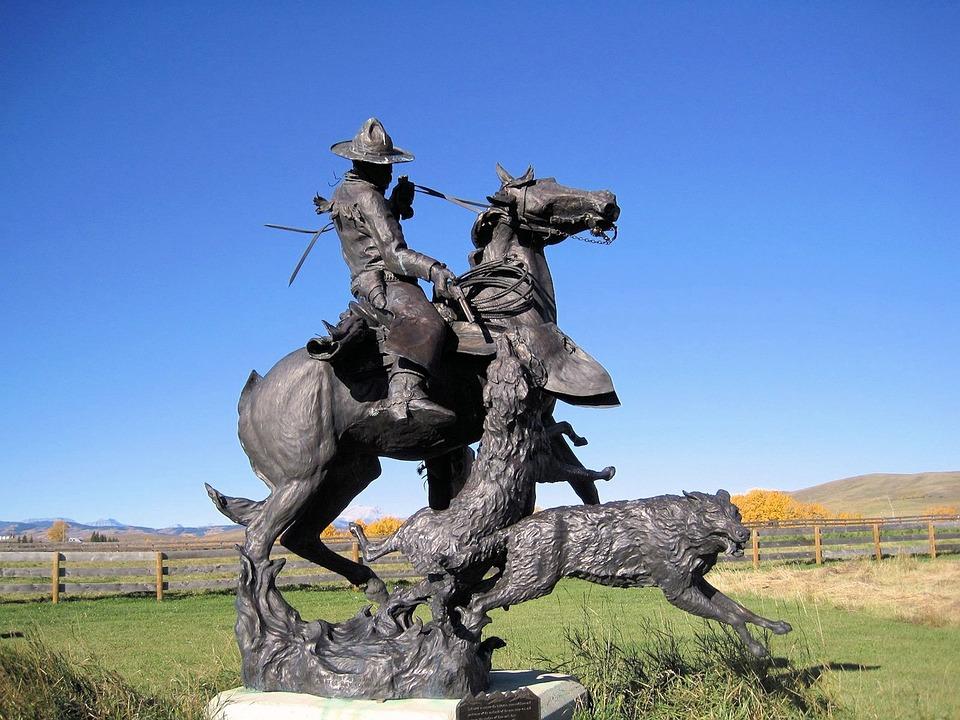 Metal Sculpture, Coyotes, Horse, Cowboy, Alberta