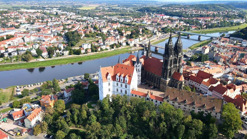 Albrachtsburg, River, Town, Buildings, Townscape