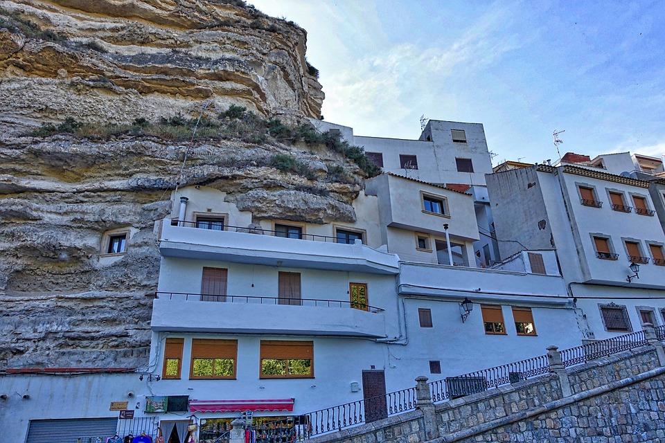 Alcala Del Jucar, Spain, Village, Rocky, Buildings