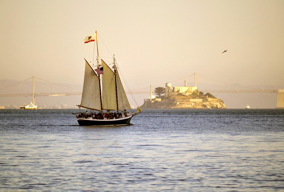 Alcatraz, Island, Sailboat, Sail, Boat, California