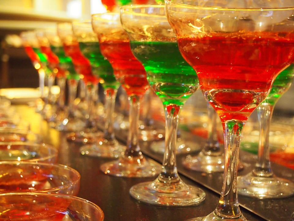 Cocktail, Glasses, Alcohol, Red, Green