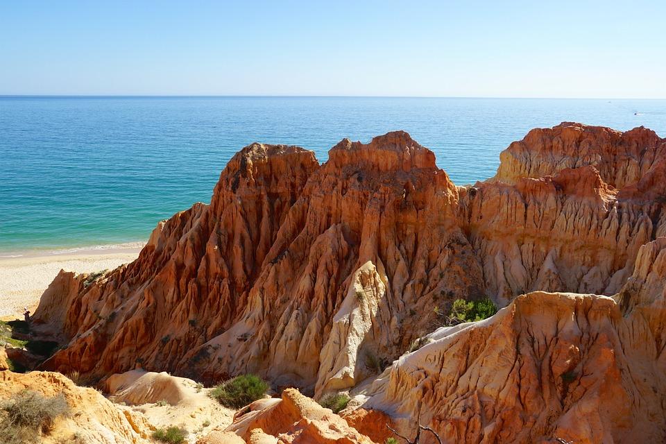 Summer, Holiday, Cliff, Algarve, Portugal, Landscape