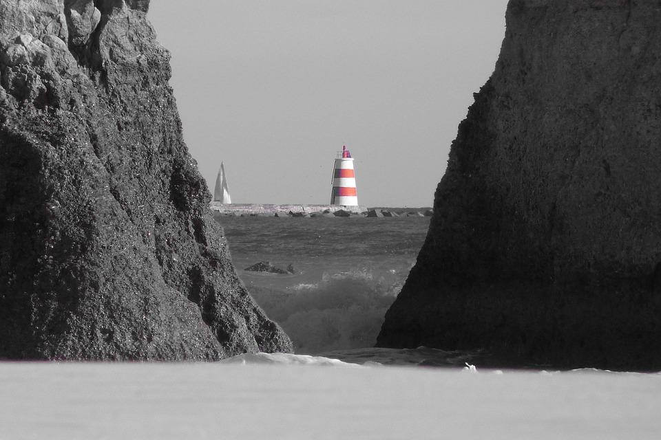 Lighthouse, Algarve, Sea, Rock, Beach