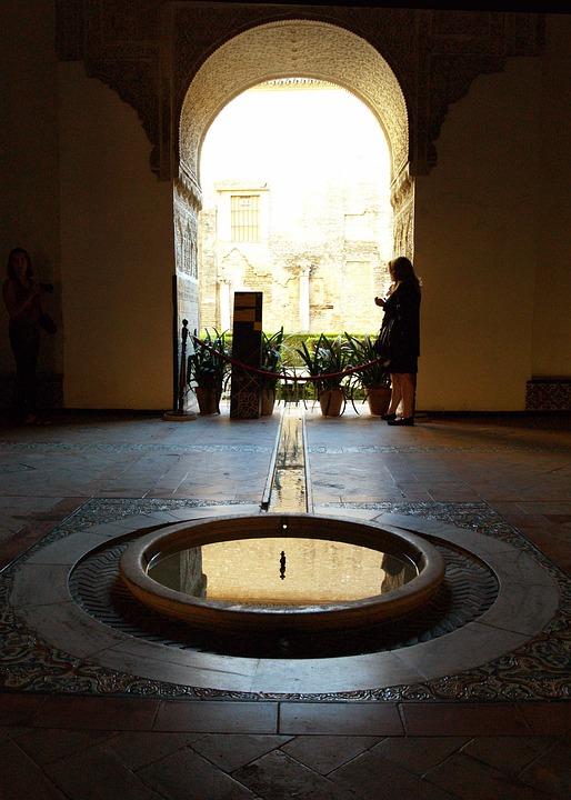 Alhambra, Source, Water, Arc, Backlight, Muslim Art