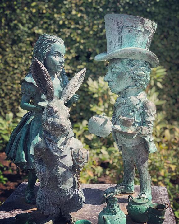 Alice, Wonderland, Bronze, Rabbit, Fantasy, Fairytale