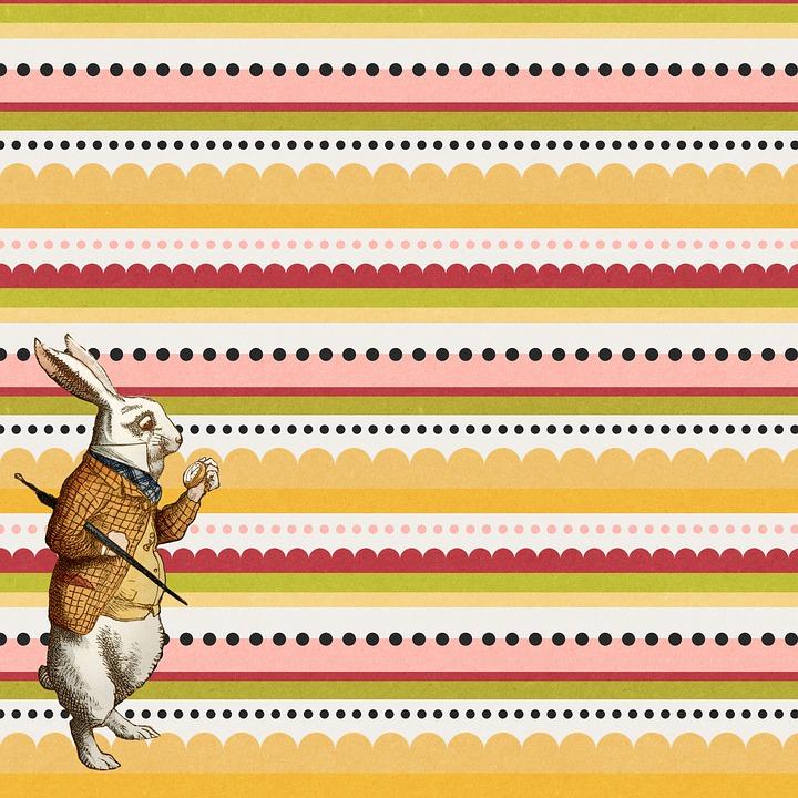 Digital Paper, Alice In Wonderland, White Rabbit, Story