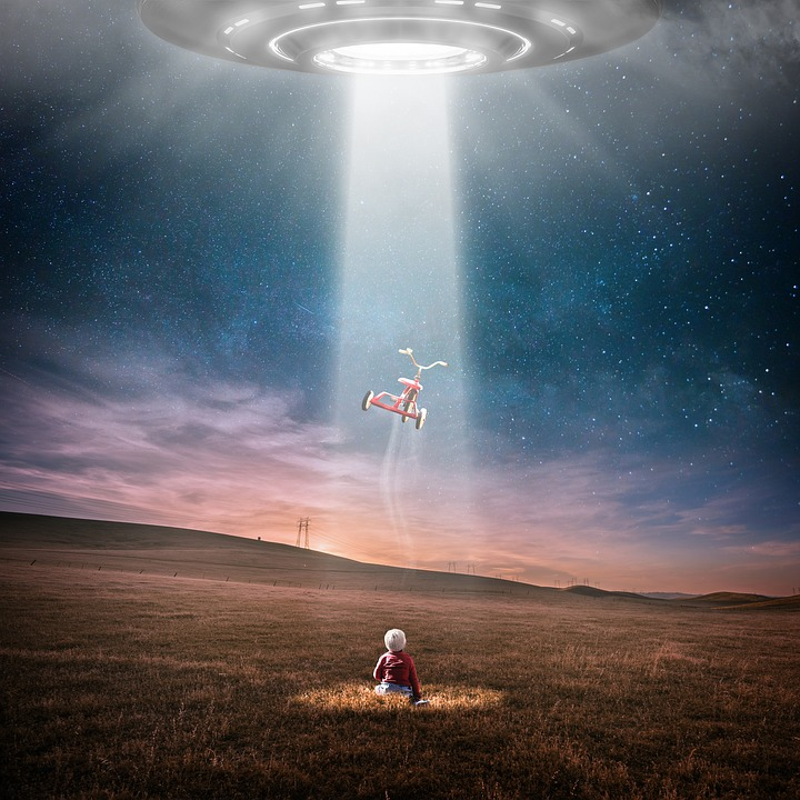 Ufo, Aliens, At Night, Abduction, Star, Universe, Child