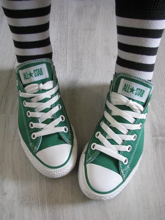 Green, All Star, Converse, Chucks, Shoes, Stripes