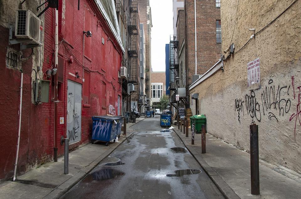 City, Urban, Street, Alley, Trash, Graffiti, Building