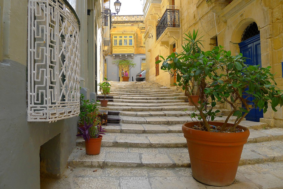 Alley, Stairs, Malta, Gozo, Yellow, Plant, Gradually