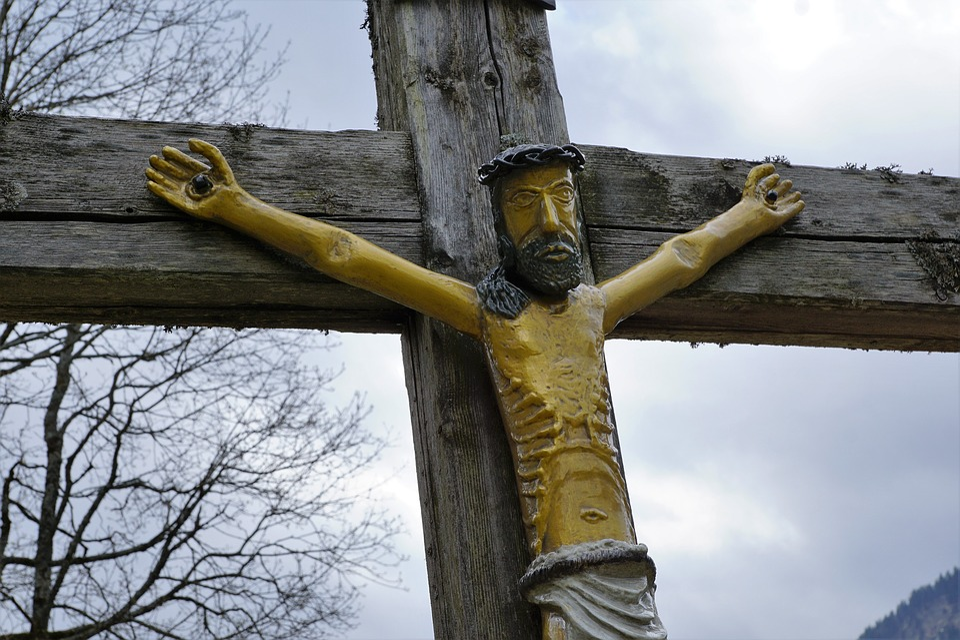 Cross, Allgäu, Behind Stone, Mountains, Nature, Faith