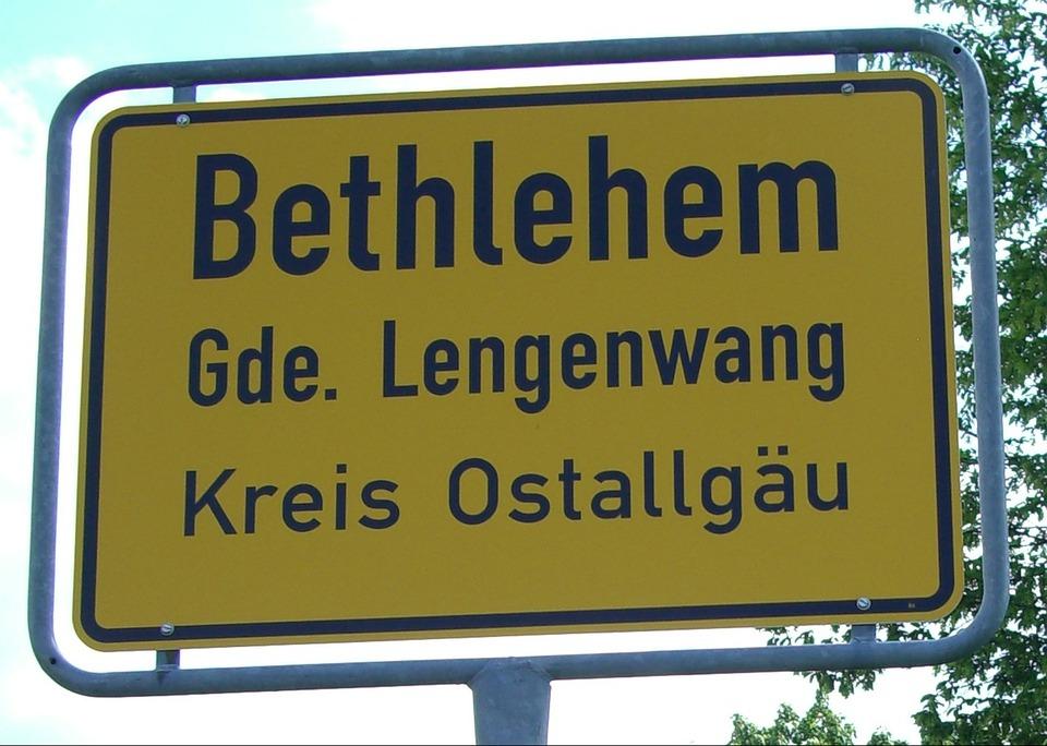 Town Sign, Allgäu, Germany, Bethlehem, Lengenwang