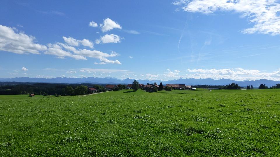 Allgäu, Mountains, Village, Meadow, Sun, Panorama