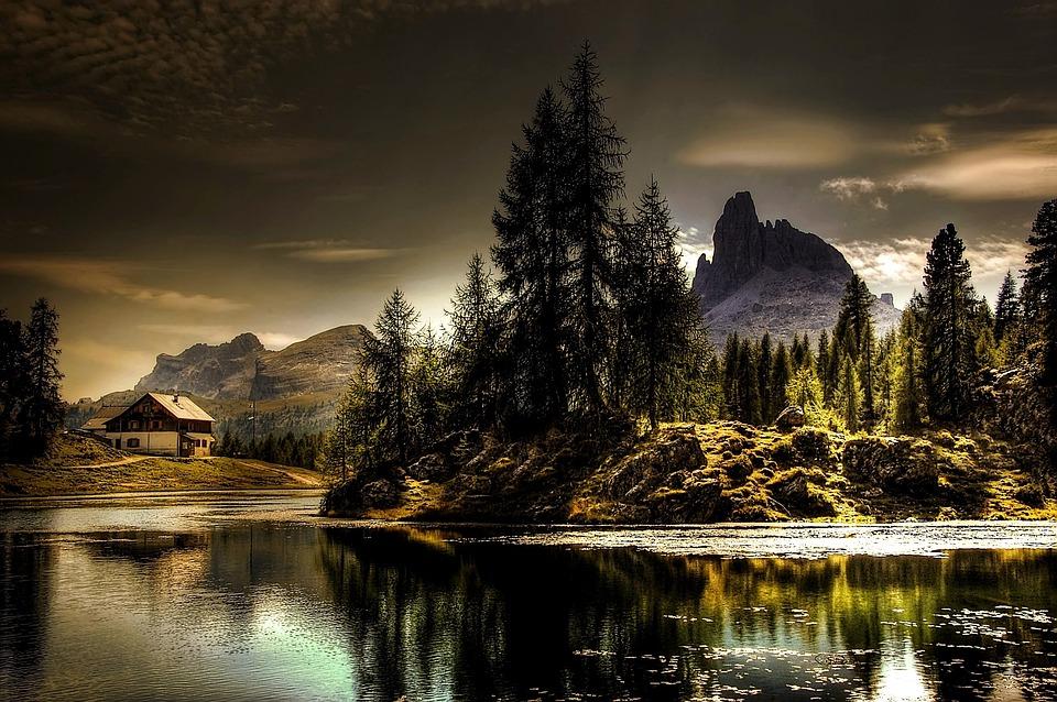 Dolomites, Croda Da Lago, Summer, Sky, Italy, Alm