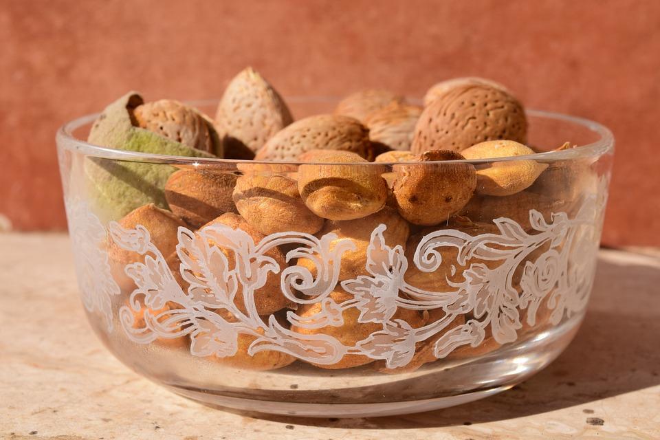 Almonds, Bowl, Decorative, Mediterranean, Beautiful