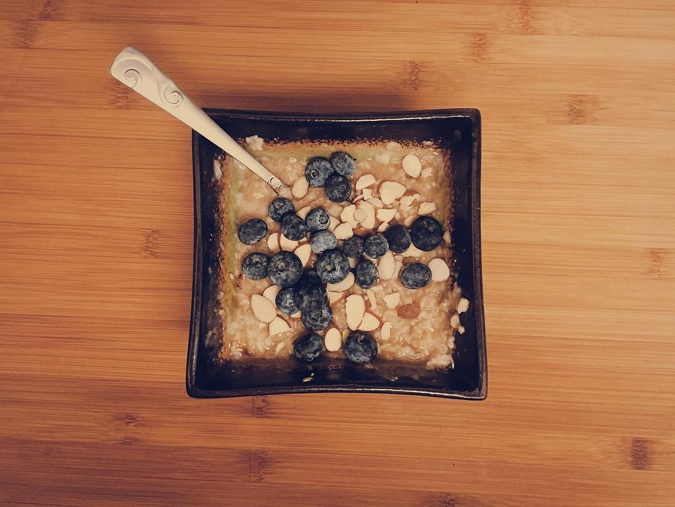 Oatmeal, Blueberries, Almonds, Breakfast, Food, Spoon