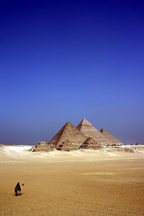 Alone, Camel, Desert, Egypt, Person, Pyramids, Sand