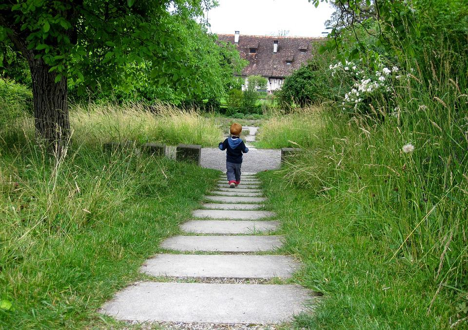 Child, Away, Meadow, Walk, Alone