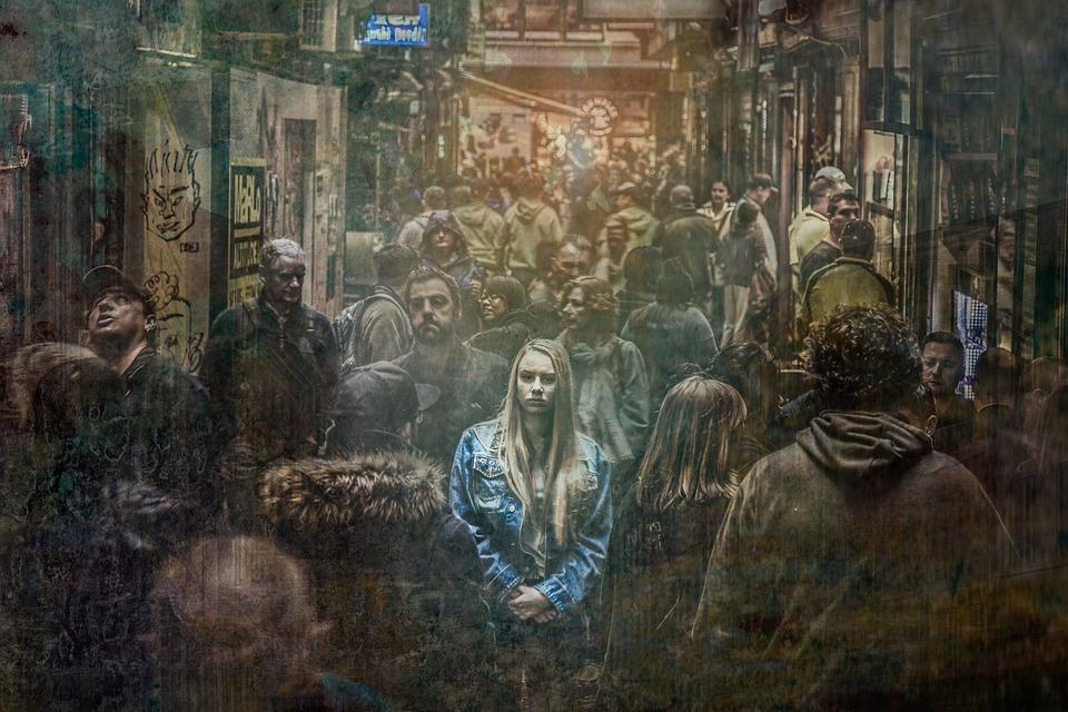 Woman, Alone, Crowd, Sad, Depressed, Depression