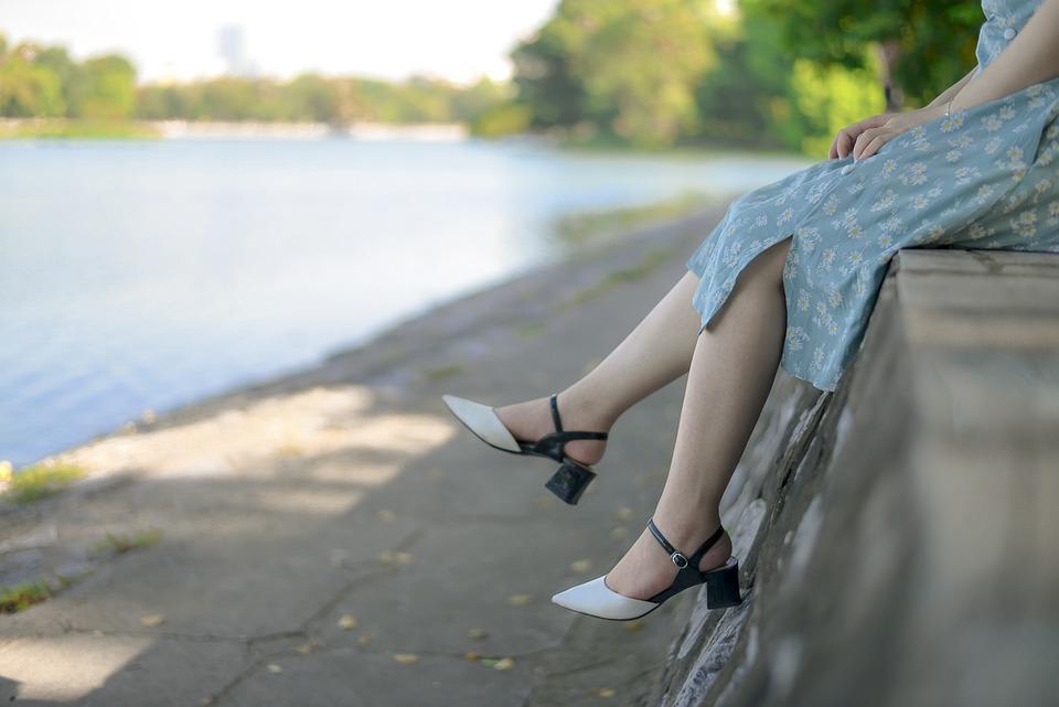 Girl, Legs, Feet, River, Relax, Seat, Alone