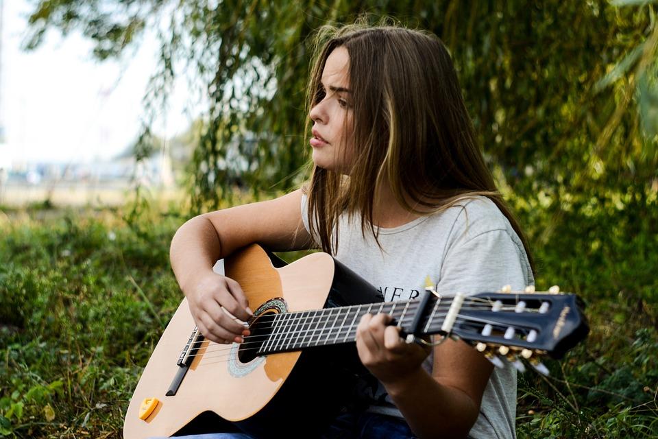 Girl, Beauty, Alone, Guitar, Music, Musician, String