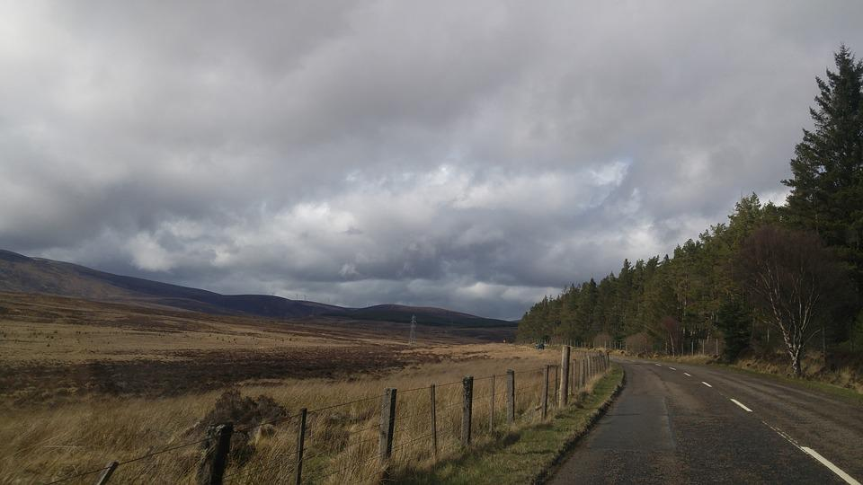 Mountains, Scotland, Clouds, Road, Nature, Alone