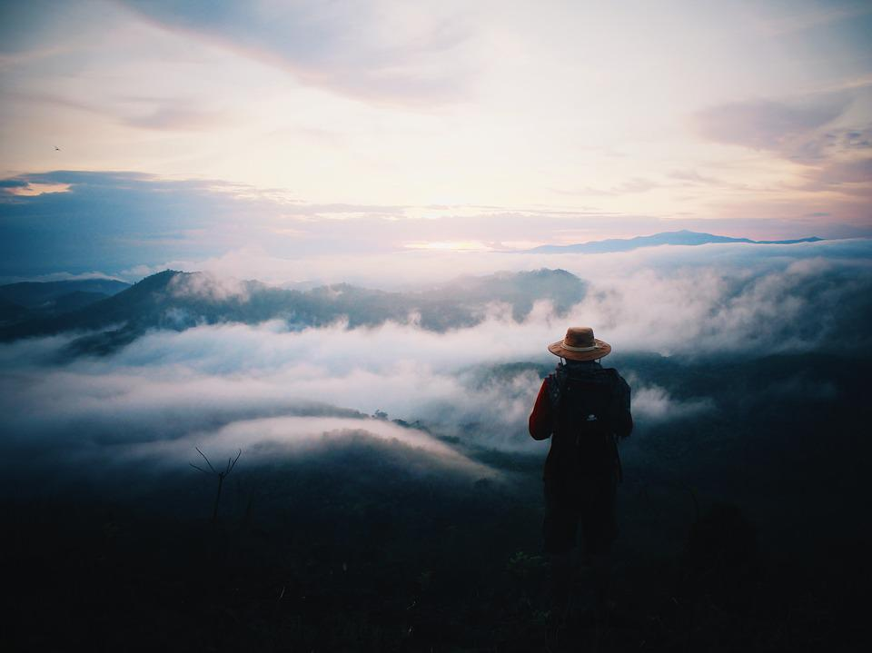 Mountain, Alone, Standing, Outdoor, Landscape