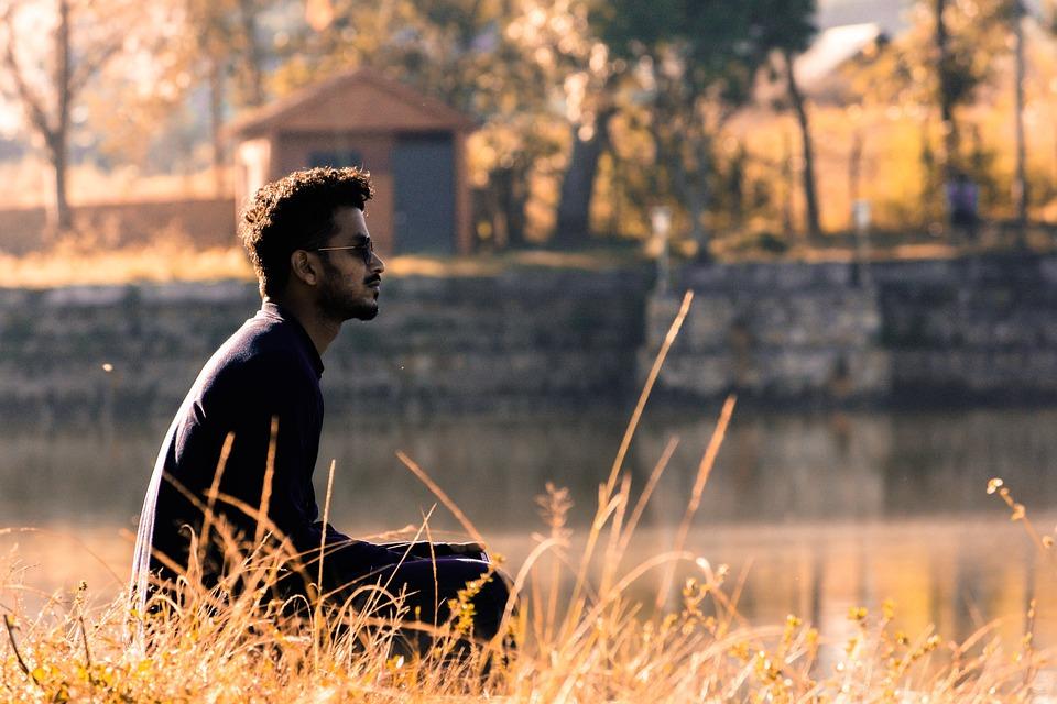 Lake, Sunset, Man, Handsome, Idle, Alone, Thinking