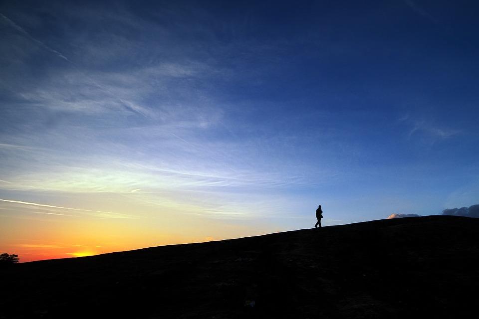 Sunset, Monadnock, Granite, Outcropping, Alone