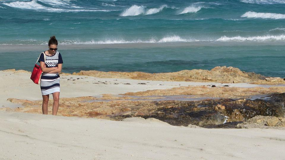 Girl, Walking, Beach, Alone, Wistful, Romantic