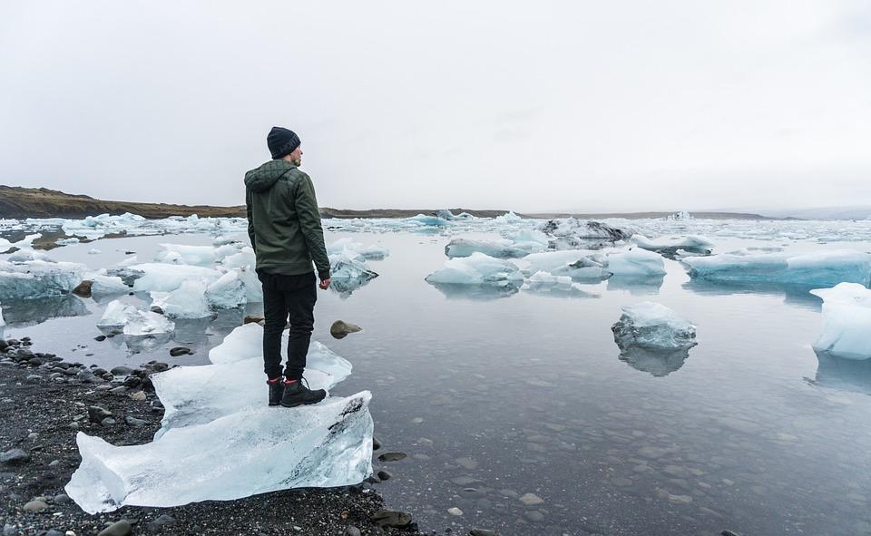 People, Man, Alone, Iceberg, Snow, Winter, Rock, Water