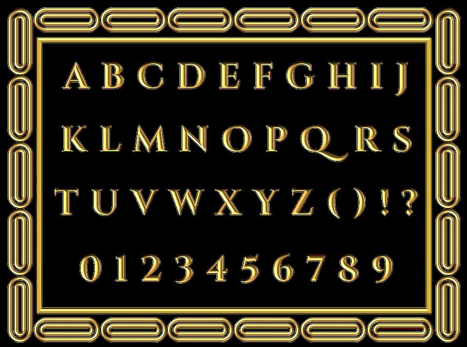 Gold, Letters, Alphabet, Border, English, Alphabets