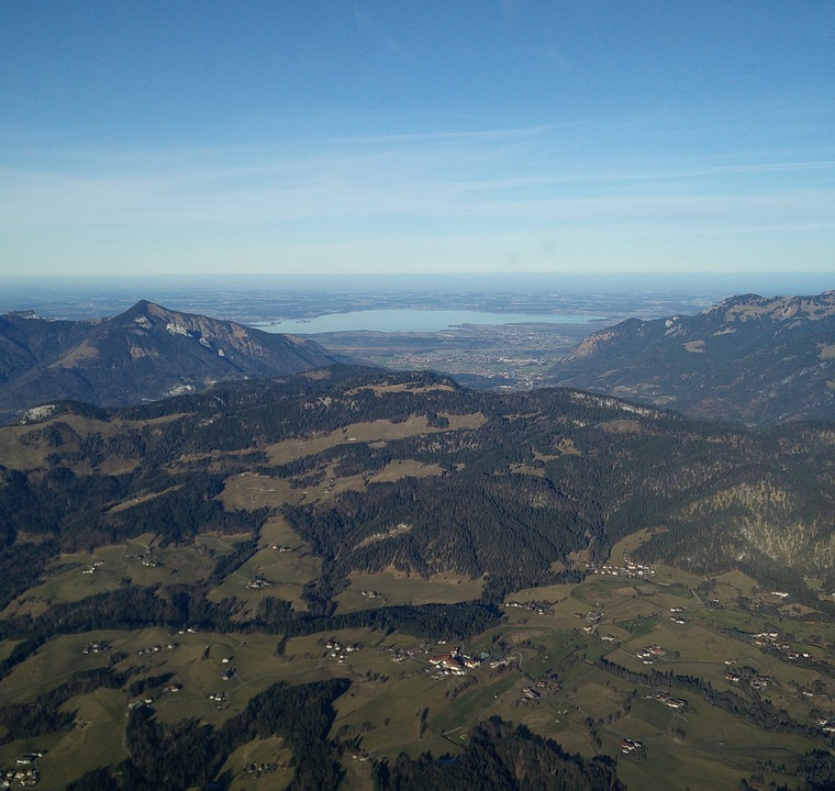 Chiemsee, Alpine Foothills, Mountains, Aerial View, Sky